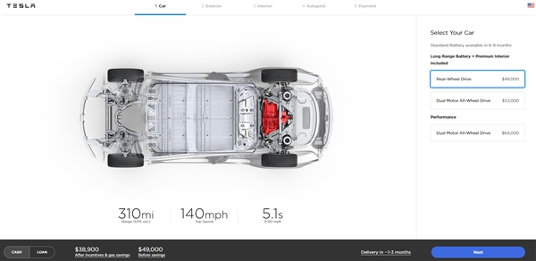 特斯拉开放Model 3预售:3.5万美元的入门版不见踪影