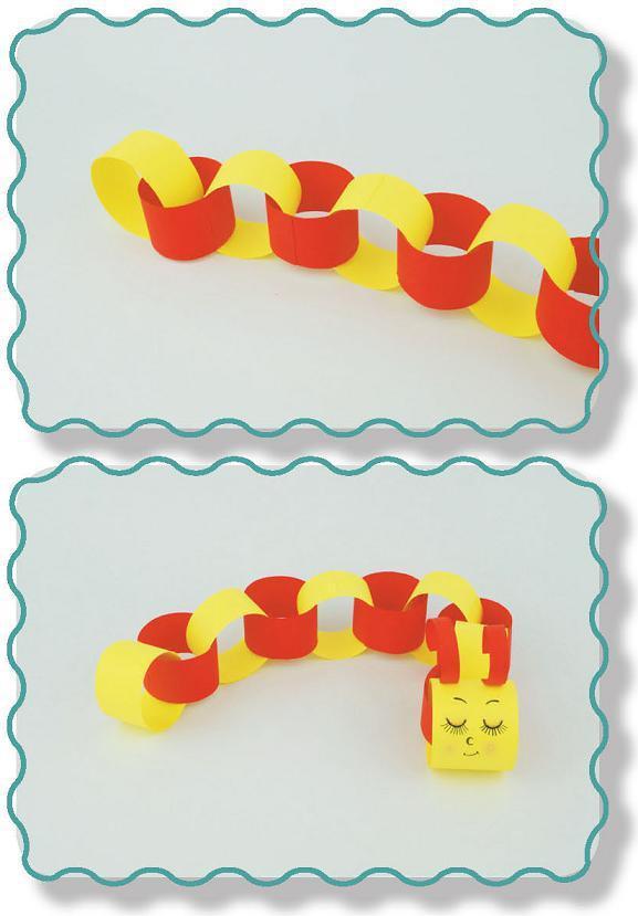 亲子手工——幼儿创意手工制作圈圈毛毛虫
