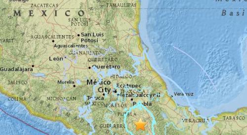 墨西哥南部地区瓦哈卡州附近发生5.7级地震。(图片来源:美国地质勘探局网站截图)