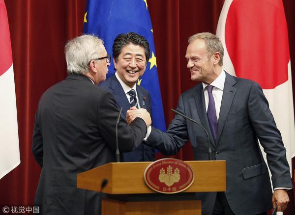 """日欧""""联手""""反对美国贸易保护 外媒:难以抗衡"""