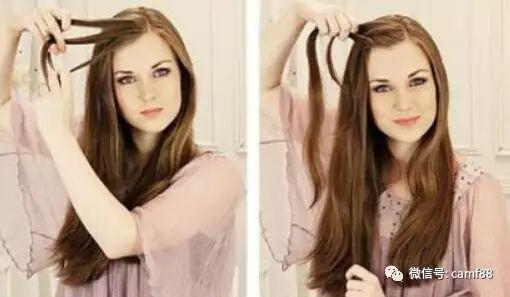 刘海侧拿起一股头发,将它分成三份;步骤2,然后用这三股头发开始编麻花