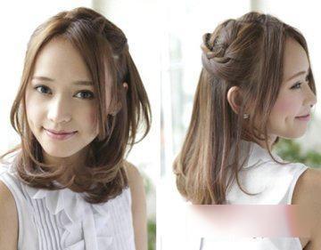 学生中长发扎发发型脸大的女孩可以尝试这种中分设计的刘海发型,易