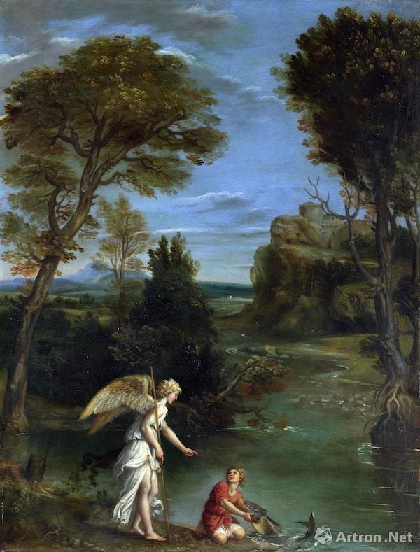 《夏甲、天使和风景》 克劳德洛兰 板上布面油画 1646年 英国国家美术馆藏。 从17世纪至19世纪初期,英国风景画都受到荷兰与佛兰德斯的巨大 影响。此外,它还受到以克劳德洛兰、加斯博杜埃(Gaspar Dughet, 16151675)和尼古拉斯普桑(Nicholas Poussin,15941665)为代表的法国画家的影响。这三位画家创作最高产的时期都在意大利度过。他们沉静的古典风格在风景画领域成了理想之美的代名词。这样的风景是恬静的,它不会被风所惊扰,温柔的阳光永恒地照耀着一切。