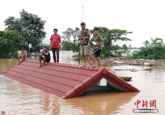 老挝阿速坡省一座水电站大坝发生坍塌,造成多个村庄被淹。图片来源:东方IC 版权作品 请勿转载