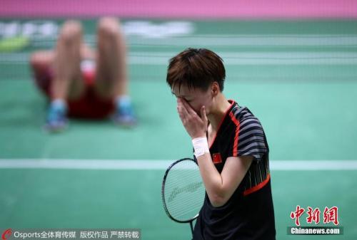 资料图:2018尤伯杯羽毛球赛四分之一决赛中中国3:1胜丹麦。图为陈雨菲负米娅・布里西费尔特。 图片来源:Osports全体育图片社_副本