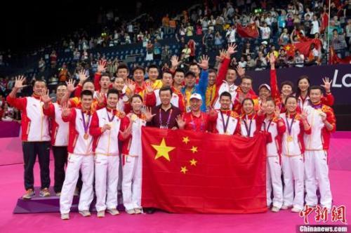 资料图:伦敦奥运会,中国羽毛球队包揽了5块金牌。记者 盛佳鹏 摄