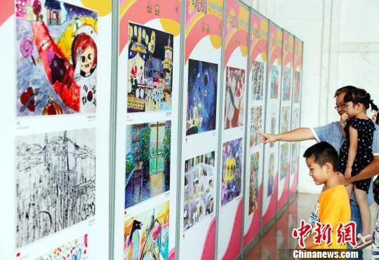第六届中日韩儿童友好绘画展在上海开幕。 汤彦俊 摄