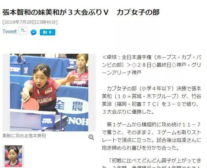 【新闻】张本智和10岁妹妹勇夺日本全国冠军 未来有望成国乒又一潜在劲敌『开球网』
