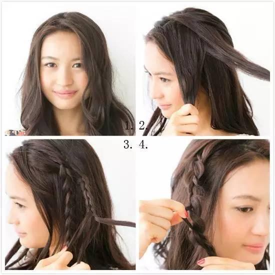 麻花辫编发的造型简单易上手,快来学学吧。 如果没有小尖脸,那么这款发型最好留出长长的刘海,中分后沿着脸颊摆动起来,无形中修饰出一张小巧的脸蛋。下面就来学习一下怎么打造一款美美的中分麻花辫发型吧~  step1:将卷发梳理一下后按照Z字形分出刘海。 step2:从前额取出发束编成三股辫。 step3:继续编出第二条三股辫。 step4:另外一侧也编成一条辫子并拉扯蓬松。  step5:用密齿梳打毛发辫。 step6:最后将辫子在脑后重合并用发夹固定。 step7:最后用发夹固定在脑后即可。 侧面脑后的头发编