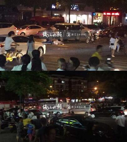 浙江杭州一路口发生车祸 轿车撞倒十余人
