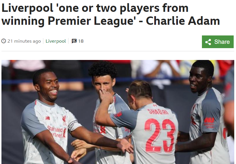 查理-亚当:利物浦距离联赛冠军还差一两名新援