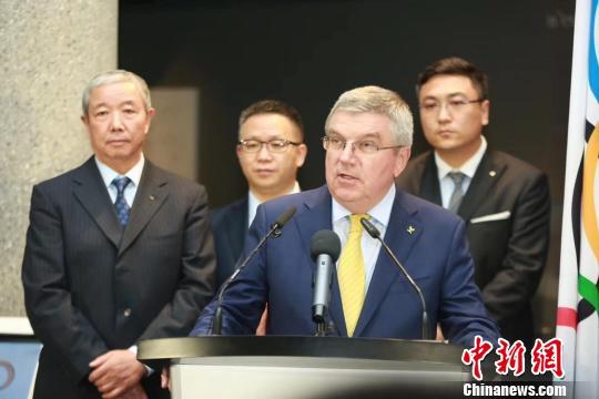 国际奥委会主席巴赫在开幕式上致辞。主办方供图