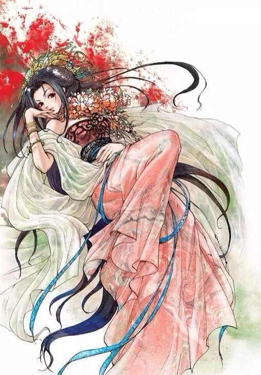 古风美图欣赏:古风手绘插画,花颜月貌,皎若秋月的古风