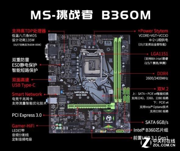 铭瑄b360m接线图