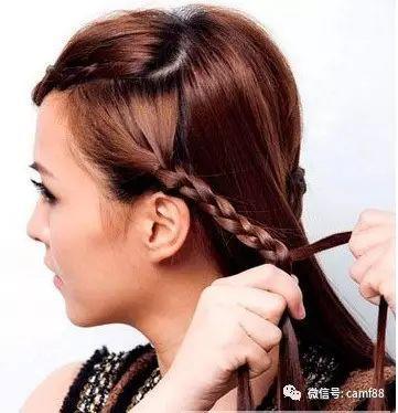 斜刘海公主头编发教程图解,简直美腻了!