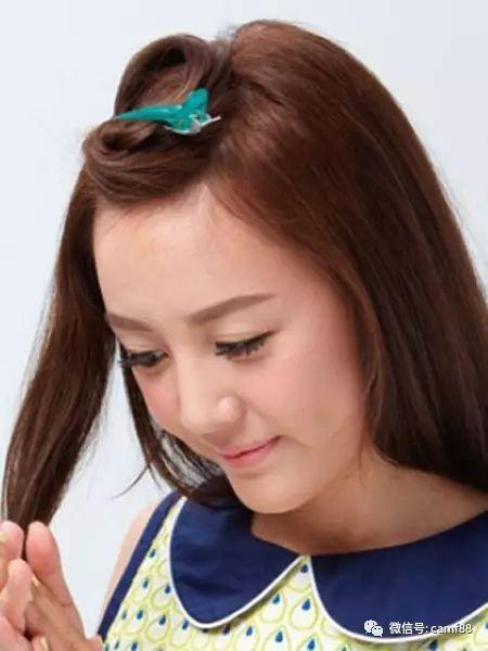 刘海编发步骤step1:先在头发上抹上护发素.