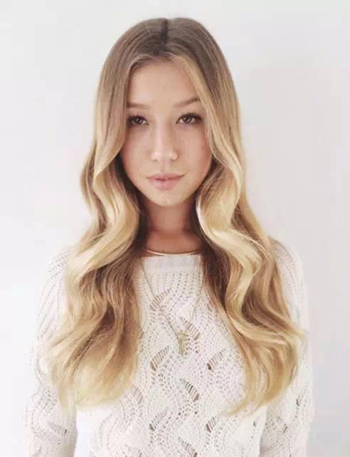 想要中分看起来更美丽,一定要将脸颊两侧的头发卷出弧度统一的波浪卷