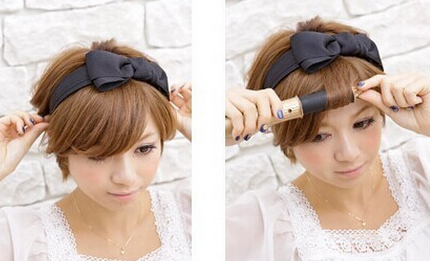 短发怎么扎好看图解: step1:取出大大的蝴蝶结发箍固定在头顶,调整好
