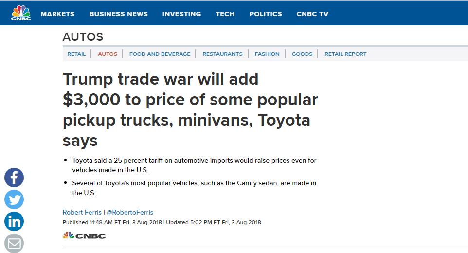 因为贸易战,美国人又得多花约3000美元在丰田汽车上了!