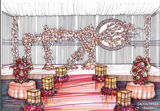 马克笔婚礼纸面手绘效果图绘制步骤解析