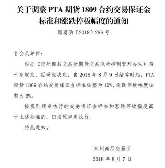 郑商所:调整PTA1809合约保证金为10% 涨跌停板为6%