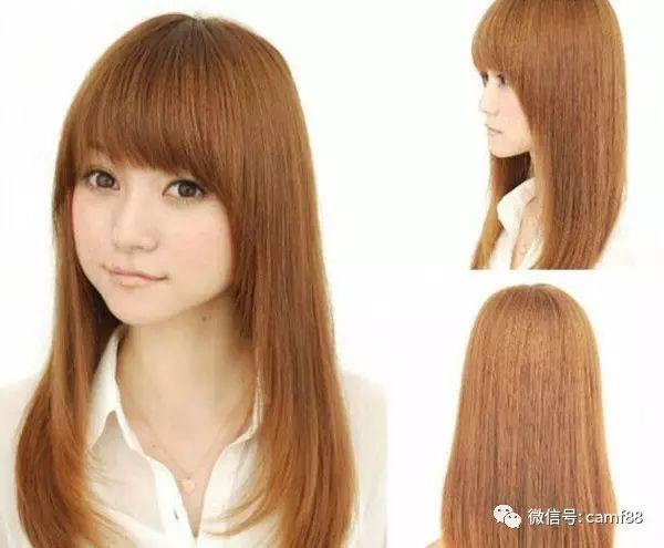 方脸中长发烫发发型五:再来一款直发内扣的金色发型,搭配内卷的齐刘海