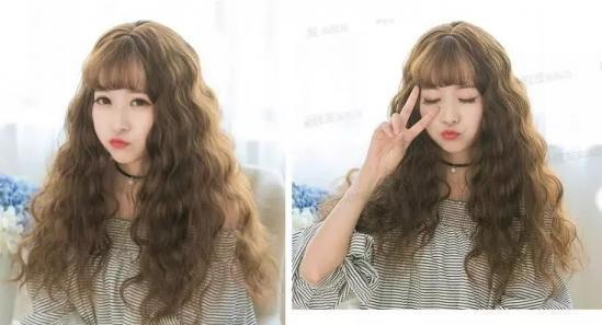 蓬松水波纹发型图片