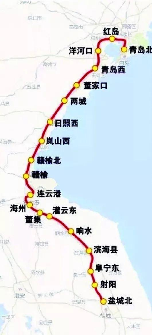 沿途经过青岛市城阳区,胶州市,西海岸新区,以及日照市和连云港市的