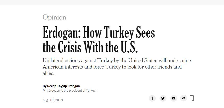 埃尔多安亲笔撰文怼美国:土耳其将被迫找新朋友