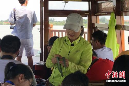 导游在用芦苇叶教游客编织浅易工艺品。 姜雨薇 摄