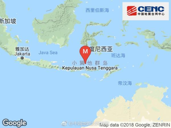 弗洛勒斯海发生6.4级地震,震源深度540千米