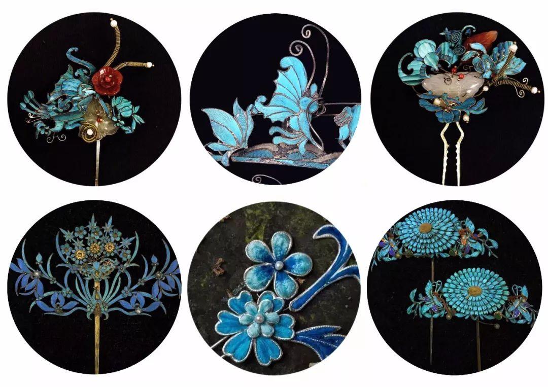 点翠凤凰纹头花(左),点翠菊花纹头花(右),藏于故宫博物院.