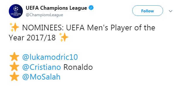 欧足联公布年度最佳三人候选:魔笛、C罗、萨拉赫