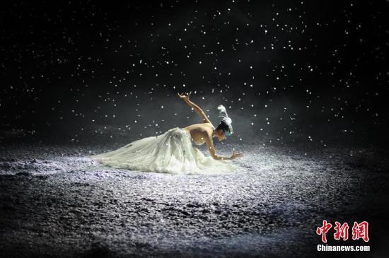 1月29日晚,舞剧《孔雀之冬》在天津大剧院上演。从《孔雀公主》、《雀之灵》到《雀之恋》,60岁的杨丽萍以独特的舞蹈语言和不同阶段的生命之美,诠释生命中的爱与时间。 中新社记者 佟郁 摄