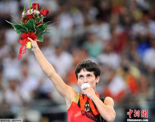 2008年8月17日,在北京奥运会女子体操跳马项目中,代表德国出战的丘索维金娜获得银牌。