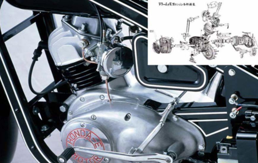 初代四冲程引擎摩托车本田1952款Model E