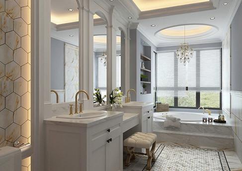 欧式浪漫温馨的卫生间装修效果图,米色的马赛克瓷砖搭配上温馨的绿色