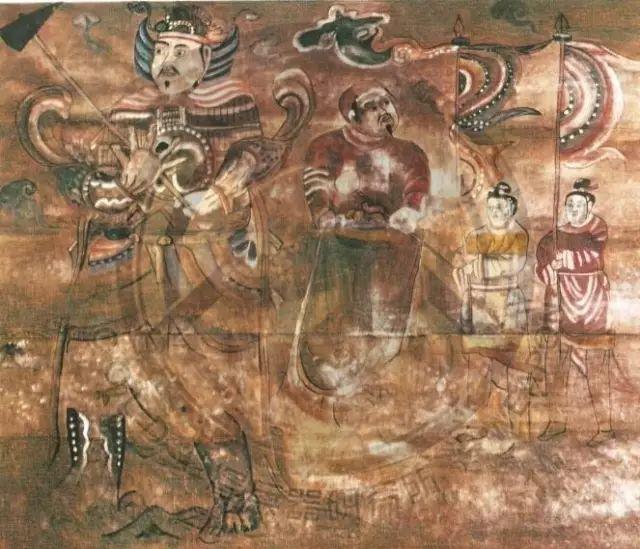▲解放营子辽代壁画中身穿札甲的辽军