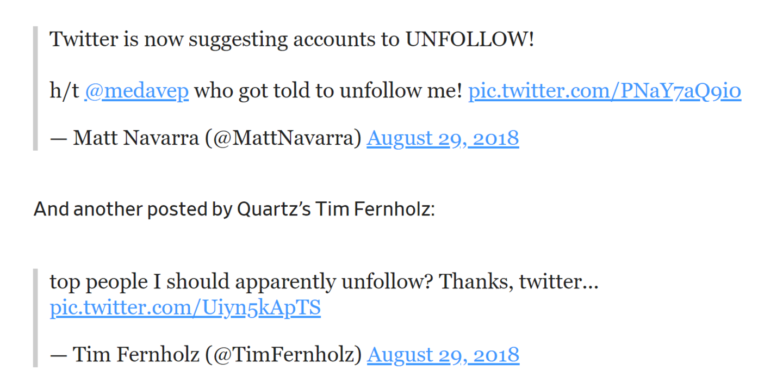 "Twitter测试""unfollow""功能,为用户推荐其不感兴趣的账号"