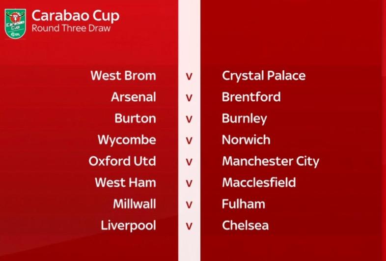 联赛杯第三轮抽签结果揭晓:利物浦遇切尔西,曼联遇德比郡