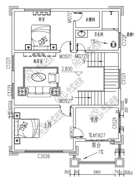5×12米四层欧式房屋设计图纸,占地100平,落地窗中嵌入了雕花,更添了