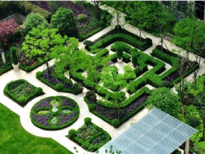 在景观设计轴线上运用了手法感的构图景观方式感的树阵,序列水钵emx模具设计静余文图片