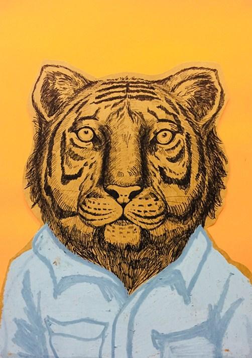 《线描装饰画》线描配合重彩棒综合类作品.木马创意美术随笔作品.