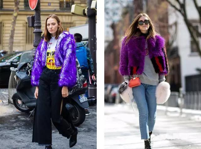 服装, 还有包包,鞋子,配饰,妆容,发色,美甲…… 紫色拼接,拼接的款式图片