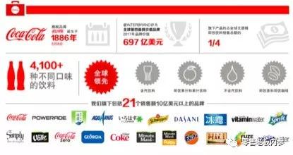 官方数据显示,可口可乐旗下产品分为四大类,分别是含汽饮料、即饮果汁和果汁饮料、不含汽饮料以及即饮茶和即饮咖啡,这些产品约占全球无酒精即饮饮料销售总额的1/4。
