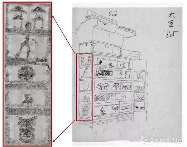 """鲁迅藏""""嵩山三阙""""拓片及其手绘图的对照,汉画像拓片铅笔拓印,汉画像"""