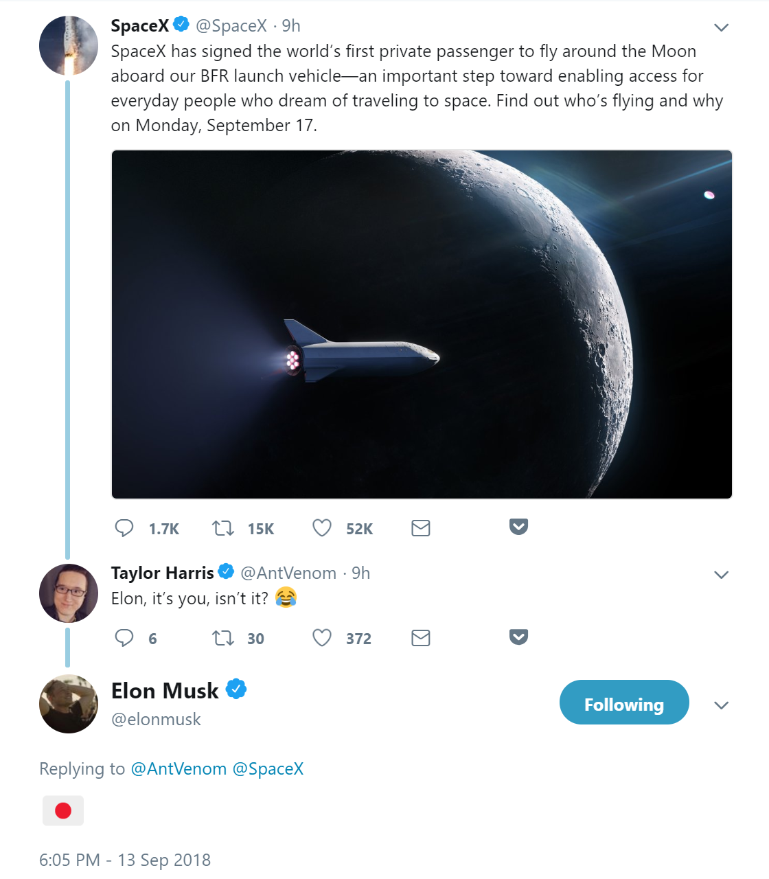 SpaceX迎来首位环月旅行私人客户