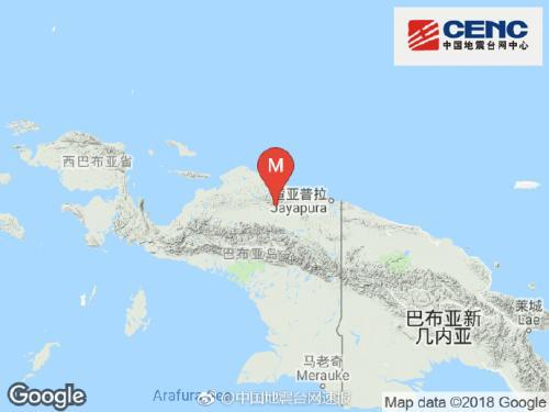 印度尼西亚发生5.7级地震 震源深度30千米