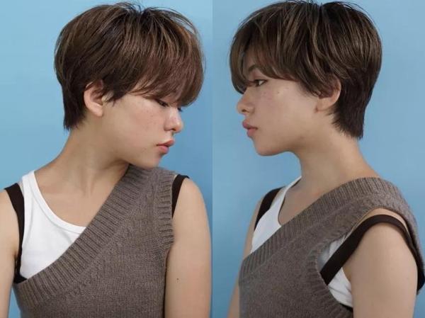 略显厚重感的蘑菇头短发发型非常时候脸型不够小巧的妹子哦,前额的