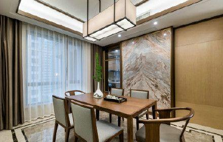 中式燈具,山水壁畫,設計師通過細節的搭配,將餐廳的優雅呈現,及時在用餐時,也是一種享受。